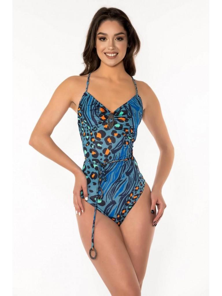 Costum de baie dama intreg, Laura Olteanu,  animal print albastru multicolor excentric , cu spatele gol si snur reglabil si accesorii cromate