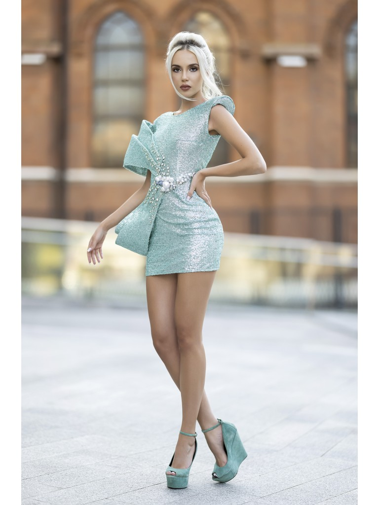 Rochie scurta turquoise din paiete mate
