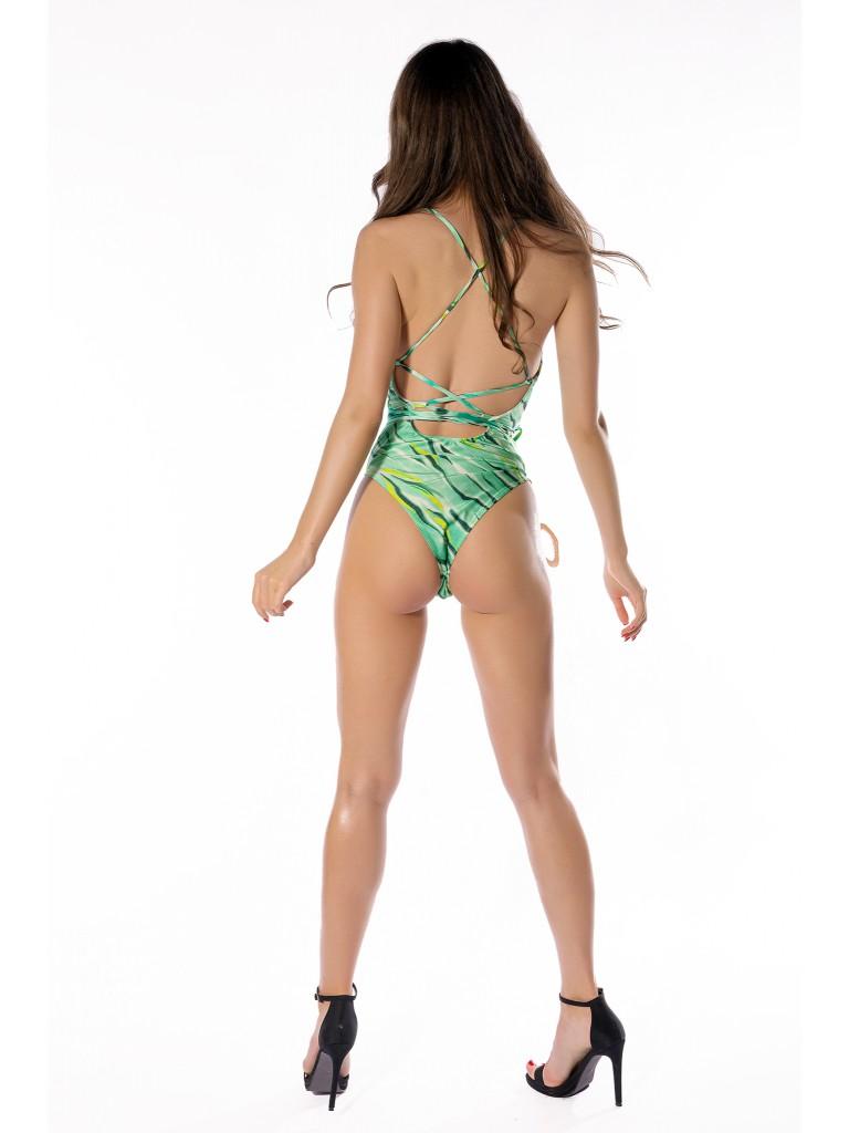 Costum de baie dama intreg, Laura Olteanu, imprimeu tigru verde, spate gol, snur reglabil si accesorii aurii