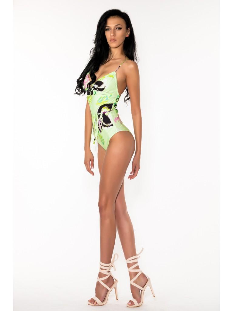 Costum de baie dama intreg, Laura Olteanu, animal print neon multicolor, spate gol, snur reglabil si accesorii aurii