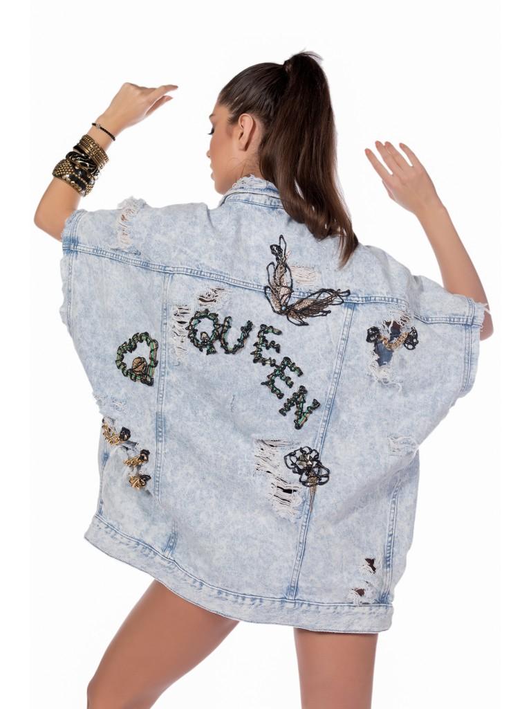 Geaca jeans denim oversize QUEEN LOVE