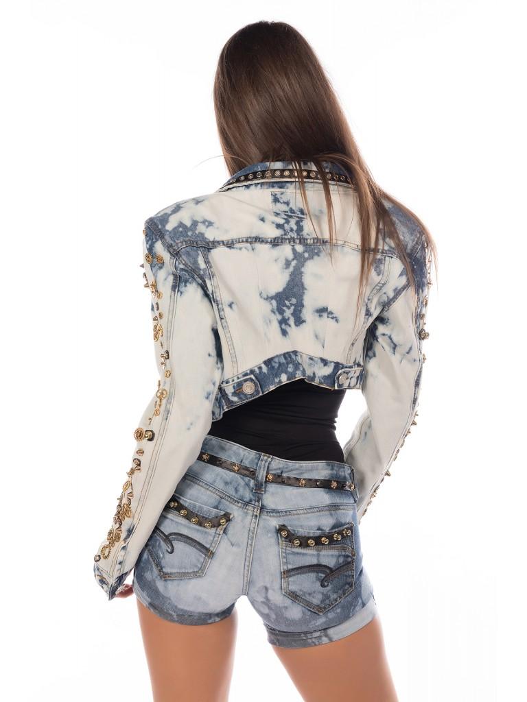 Geaca jeans denim decolorata