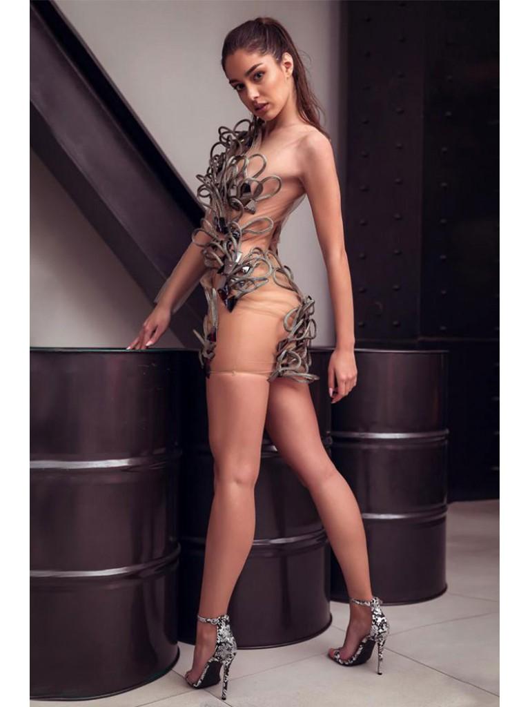 Rochie scurta nude din tull cu oglinzi